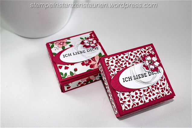 Gift Box, Verpackung handmade with Stampin' Up!, Valentinstag, 	Valentine's Day, Love, Liebe, Wedding, Hochzeit, Goodie, Mitbringsel, DSP Liebesblüten, Designer Series Paper Love Blossums, Blüten der Liebe, Bloomin' Love, Rose Red, Rosenrot, Bloomin' Heart Thinlits Dies, Blühendes Herz, Stampin' Up! Berlin, https://stempelnstanzenstaunen.wordpress.com/