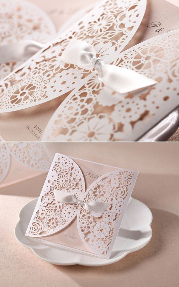 cream blush laser cut inspired vintage lace wedding invites with ribbon