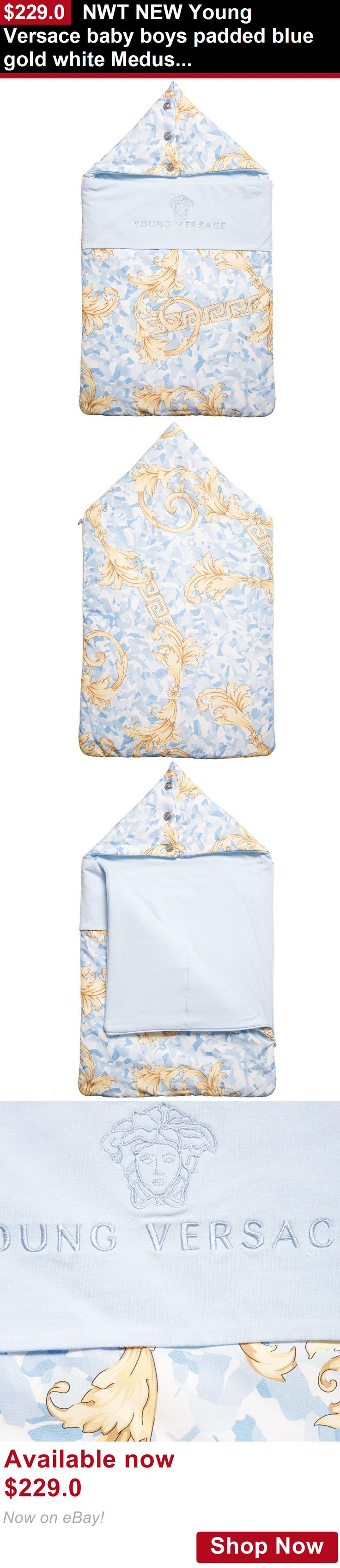 Sleeping Bags And Sleepsacks: Nwt New Young Versace Baby Boys Padded Blue Gold White Medusa Sleeping Bag Nest BUY IT NOW ONLY: $229.0