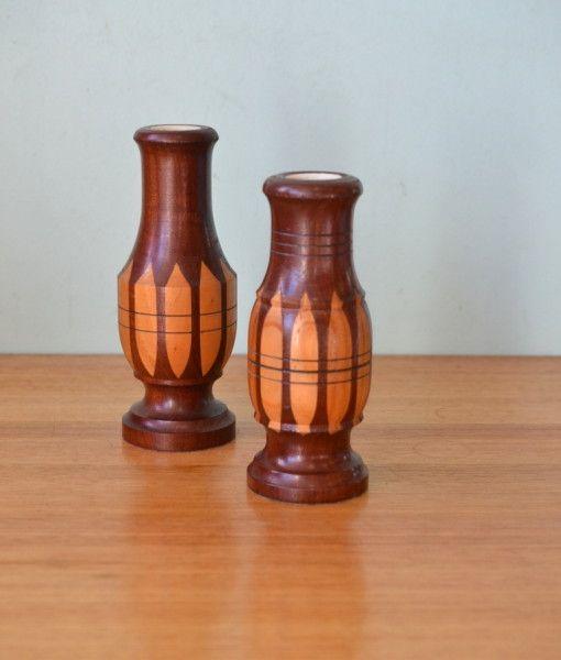 Vintage two wooden vase mid century stogg mountains wood