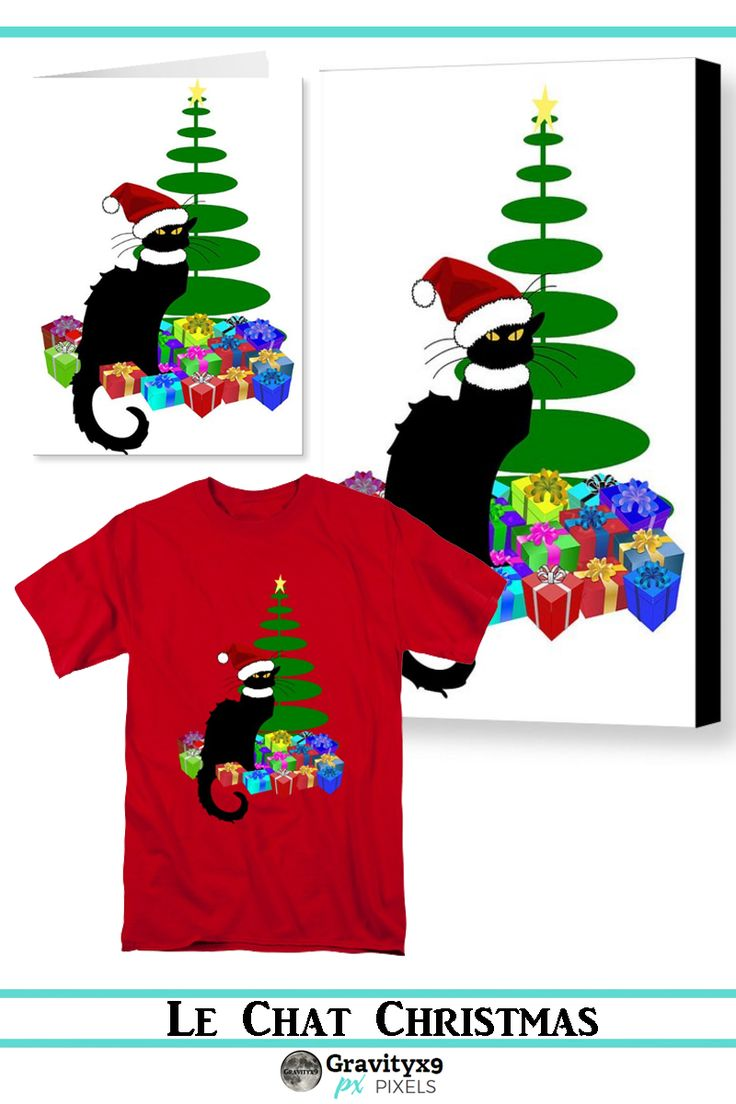 Christmas Le Chat Noir With Santa HatLe Chat Noir is ready for Christmas with a bright red Santa hat, Christmas tree and gifts ! Available on Tee's,cards, home decor, and more!  #SpoofingTheArts with #Gravityx9 Designs at  Pixels and FineArtAmerica