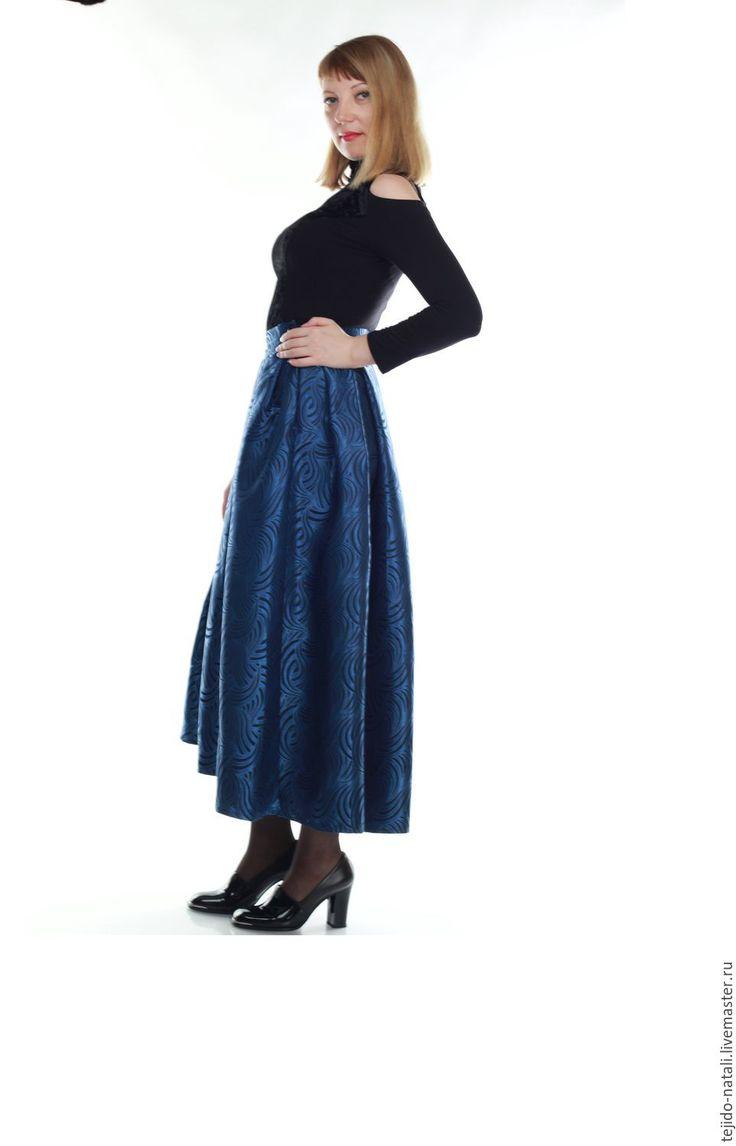 Купить Юбка в пол в складку - однотонный, тёмно-синий, юбка в пол, юбка в складку