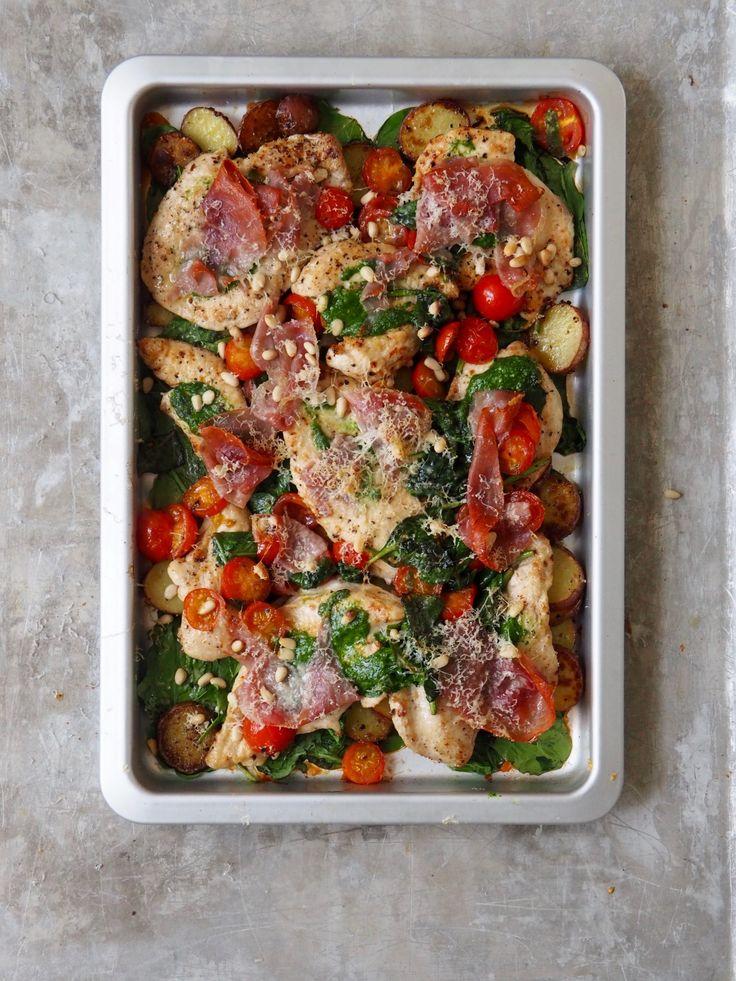 Alt i ett panne med kylling og spekeskinke