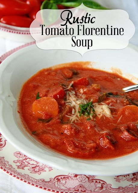 Rustic Tomato Florentine Soup, inspired by a local cafe. Make it with either fresh tomatoes or canned, either way it's tomato soup heaven.