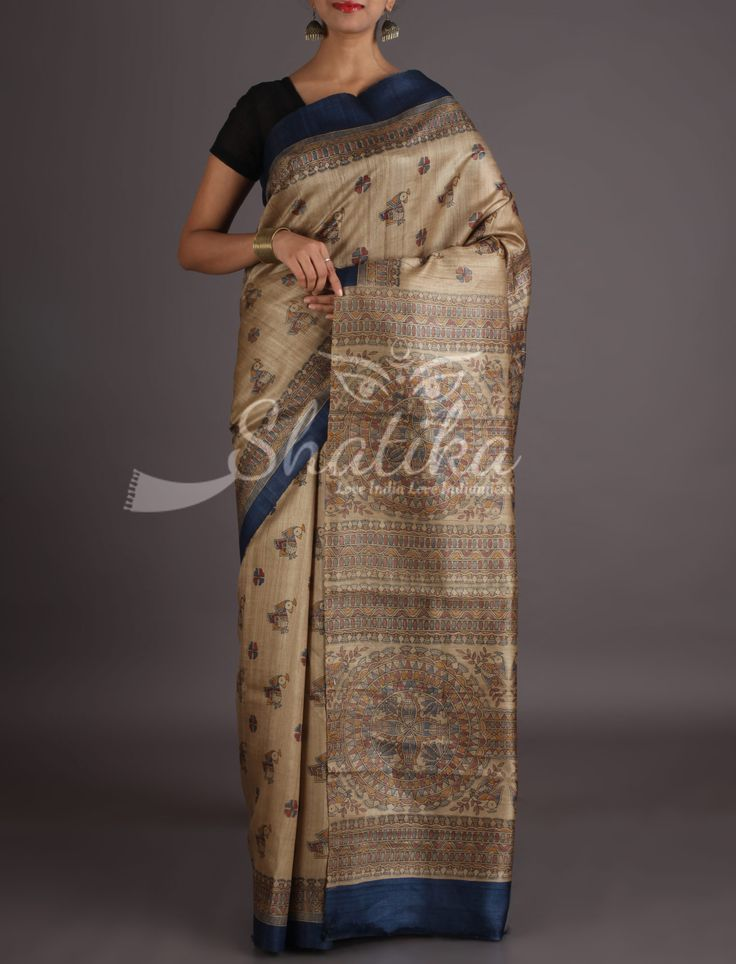 Parinidhi Fawn With Colorful Motifs And Buzzing Pallu Madhubani Hand Painted Saree