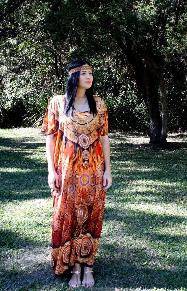 new Silk Georgette Maxi Kaftan dress tribal digital print Tunic Flame print Crystals free size