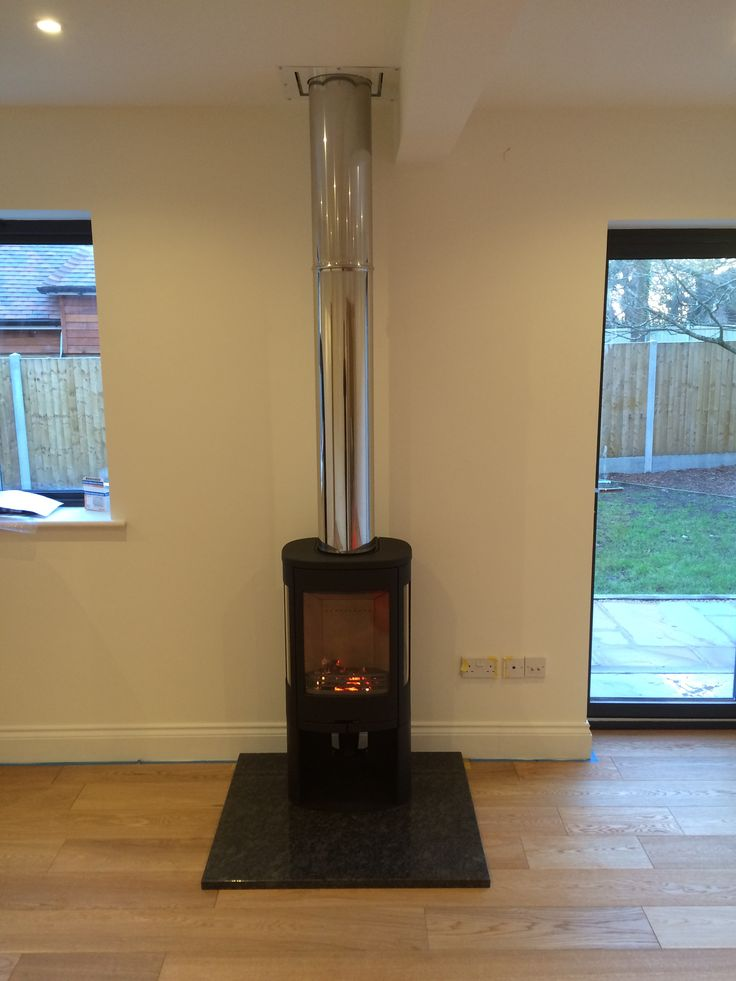 Contura 850 1 Stainless Steel Iflue Black Granite Hearth