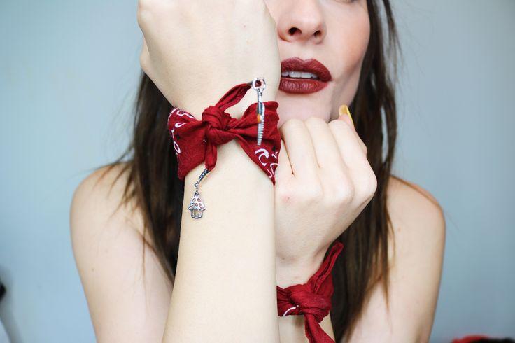 DIY   Bandana Necklace + Bracelet (Free People Inspired)