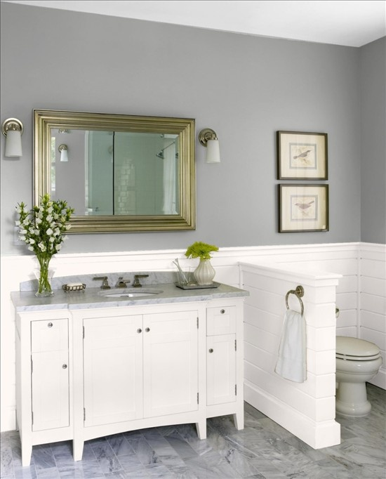 Bathroom colors - behr polar bear, behr reflecting pool and glidden granite gray
