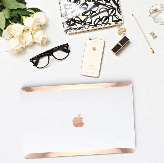 Platinum Edition White Pearl with Rose Gold/Copper Edge Detailing Hybrid Hard Case for Apple Macbook Air & Mac Pro 13 Retina