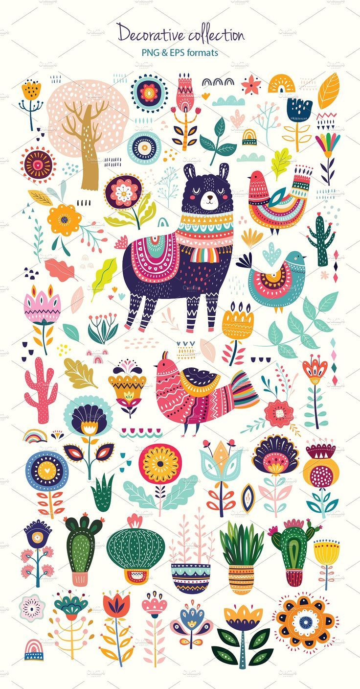 Big decorative set with Llama by MoleskoStudio on …
