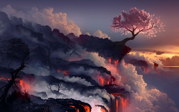 вулкан, скалы, море, сакура, арт, пейзаж, дым, дерево, лава