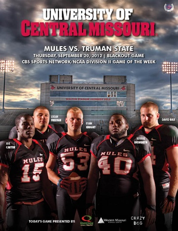 UCM Mules Football Program cover for Blackout Game and CBS Sports Network/NCAA Division II Game of the Week on Sept. 20 2012