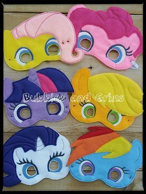 6 adorable pony masks in your little one's favorite characters!  2 sizes available: 2-4yrs ($12-14)  http://bubblesandgrins.bigcartel.com/product/little-pony-friends-play-masks
