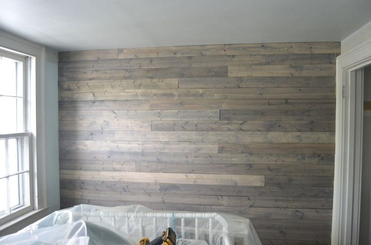 How to make basic pine look like a weathered and chic reclaimed wood plank wall with gray stain
