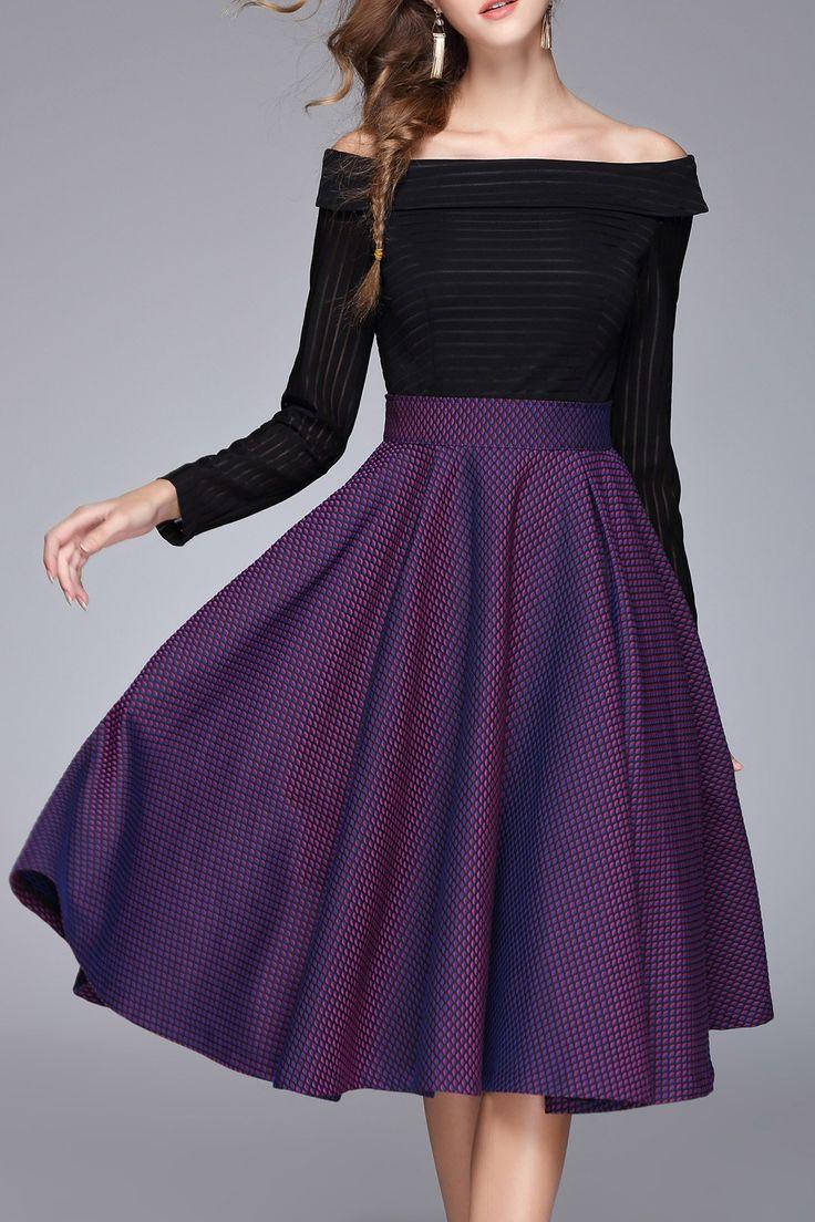 Rs Black/purple Off The Shoulder Color Block A Line Dress | Midi Dresses at DEZZAL