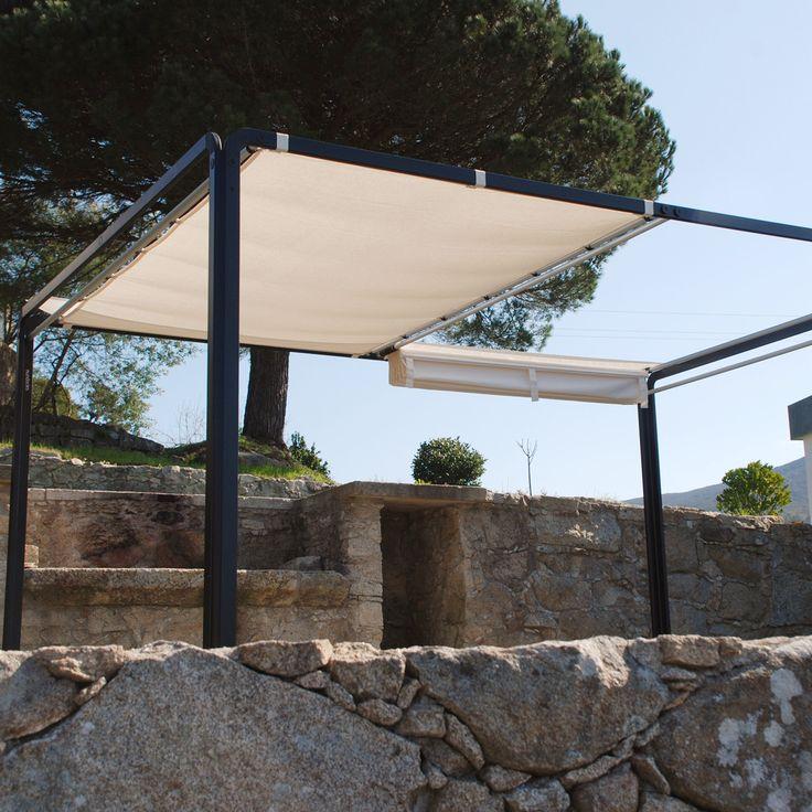 Pérgola Nova - El Corte Ingles 1.042 285 (ancho) x 220 (altura) x 285 (fondo) cm Pérgola para jardín con estructura de aluminio y toldo retráctil y doble toldo retráctil, se desliza mediante sistema de tubos y anillas, quedando recogido en uno de los laterales de la pérgola. Tejido Dralon 190 gr/m2. UV Protección.  Estructura en aluminio lacado y aluminio anodizado. Tornillería en acero inoxidable, codos de unión en poliamida reforzada con fibra de vidrio.