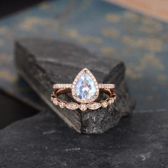 Rose Gold Moonstone Engagement Ring Pear Shaped Ring Bridal