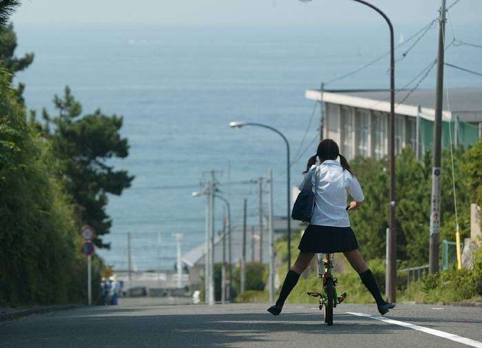 ○•SCHOOL GiRL~•○ school uniform - - twin tails - - school bag - - bike - - hill - - ocean - - cute - - kawaii
