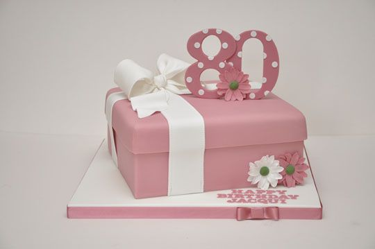 Pink 80th Birthday Cake