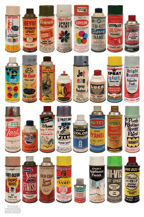 Amazing Collection of Vintage Spray Paint Cans | Man Made DIY | Crafts for Men | Keywords: spray, paint, post, graffiti