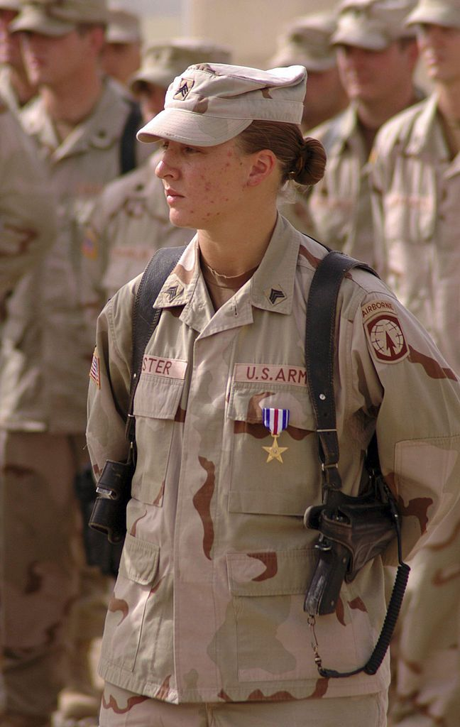 Leigh Ann Hester (born 1982) is a US Army soldier. While assigned to the 617th Military Police Company, a Kentucky Army National Guard unit out of Richmond, Kentucky, Hester received the Silver Star for her actions on March 20, 2005 during an enemy ambush. Hester enlisted in the U.S. Army in April 2001 and is the first female U.S. Army soldier to receive the award for exceptional valor since WW2 and the first ever to be cited for valor in close quarters combat.