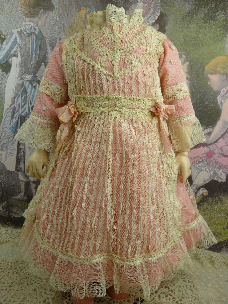 Marvelous French pink batiste and tucked dotted gauze dress for an antique Bébé from stairwaytothepast/ Ruby Lane