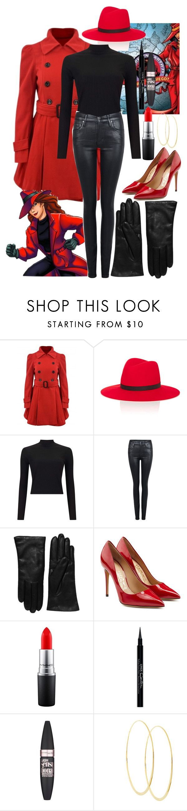 """Carmen Sandiego"" by panenguin ❤ liked on Polyvore featuring Janessa Leone, Miss Selfridge, Citizens of Humanity, Saks Fifth Avenue Collection, Salvatore Ferragamo, MAC Cosmetics, Givenchy, Maybelline, Lana and Halloween"