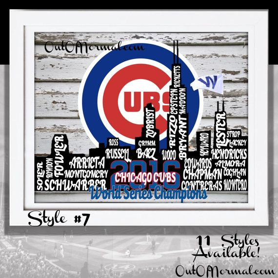 Custom made Chicago Cubs 2016 team roster print with your favorite players names including (Joe, Theo and Tom)! 11 different styles to choose from. Must see! Great for that favorite sports fan of yours! From far away, the picture looks just like the Cubs logo, but up close you can see every member of the 25 man roster making up the 2016 World Series Roster as a silhouette of the City of Chicago This is the team that could finally break the curse. Cherish this group and get ready for the…