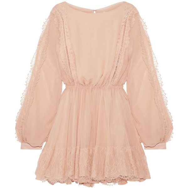 LoveShackFancy Noelle lace-trimmed silk-georgette mini dress found on Polyvore featuring dresses, short peach dresses, peach dress, short skirts, red mini skirt and peach cocktail dress