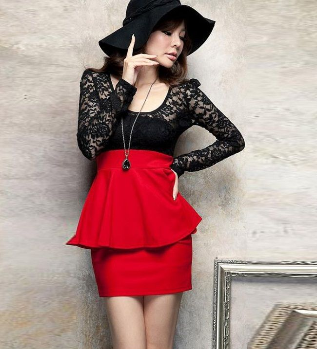 peplum dress with long sleeves