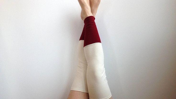 Fleece Thigh High Leg Warmers Sweater Leg Warmers  Organic Cotton Leggings  White and Red Knit Leggings Eco Friendly Leg Warmers by blissjoybull on Etsy https://www.etsy.com/listing/251881566/fleece-thigh-high-leg-warmers-sweater