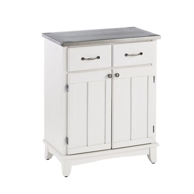 Buffet of Buffet White Finish with Stainless Steel Top ...