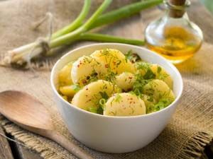 Easy Potato Salad with Dill (Naturally Gluten Free). Dress with olive oil, mayonnaise, or sour cream. See recipe at http://glutenfreerecipebox.com/easy-potato-salad-dill/