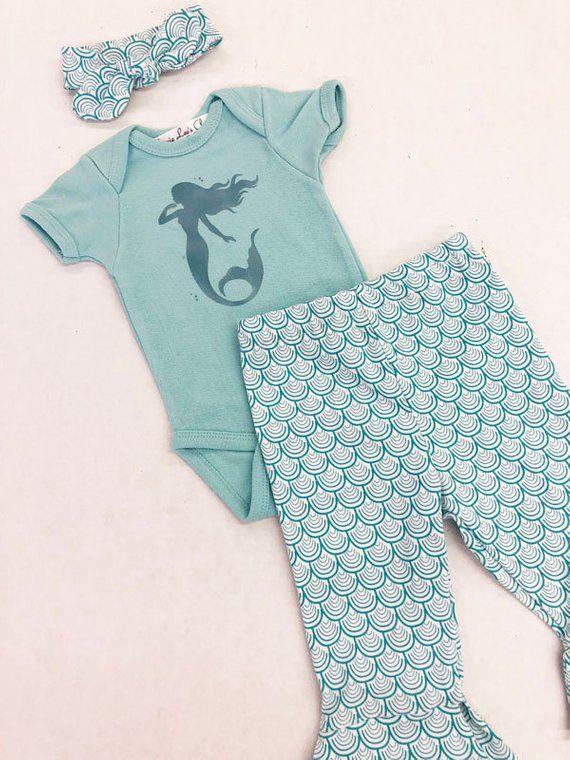 66978992df111 Mermaid Set, Coming Home Outfit, Mermaid Onesie, Mermaid Pants, Baby  Clothing, Girl Clothing, Baby Shower Gift, Mermaid