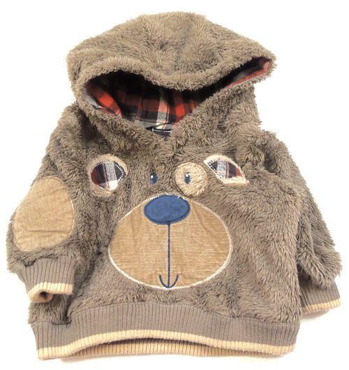 BRUMLA.CZ – Značkový dětský a dospělý second hand a outlet, použité oděvy pro děti a dospělé - Hnědá chlupatá mikinka s kapucí a medvídkem zn. George