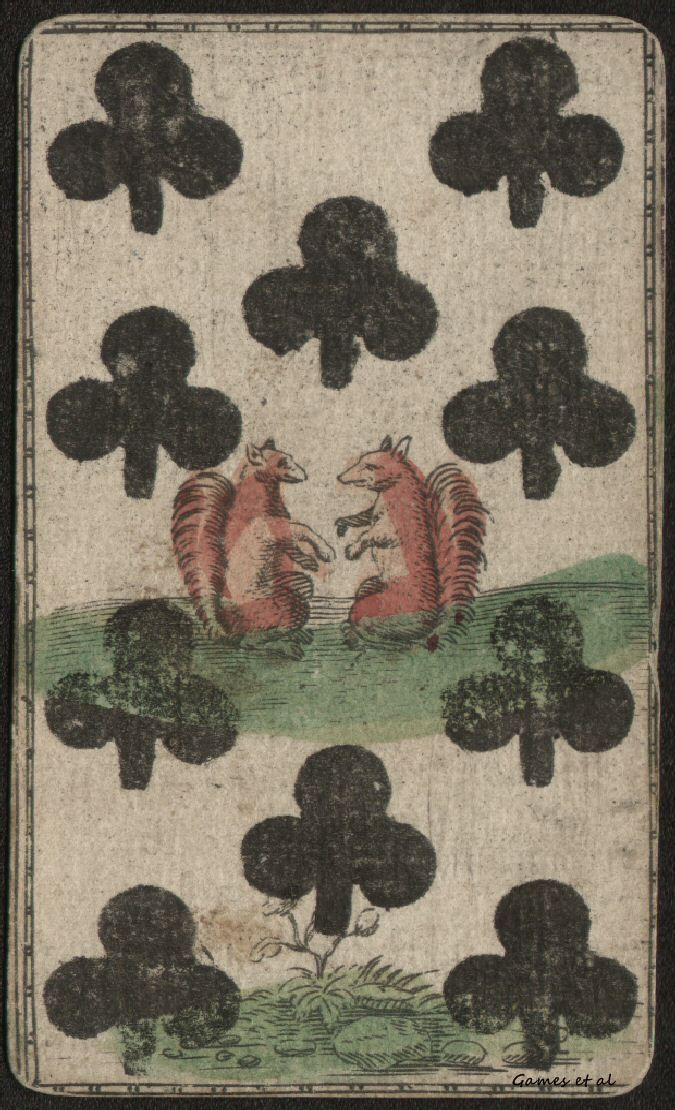 Squirrel Clubs. French Suits. German Engraved and Hand-colored Playing Cards ca. 1610 to 1650. with English Hand Tax Stamp 1710.