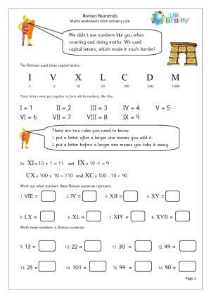 Roman Numerals Worksheets #3