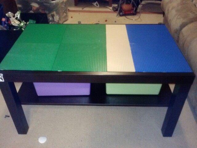 Ikea Coffee Table+Liquid Nails+Lego Base Plates+Moving Men Furniture Sliders  U003d