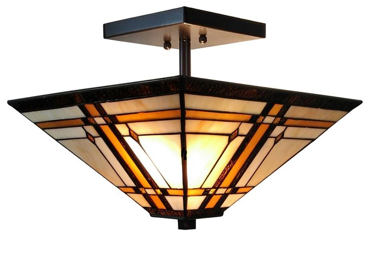 Tiffany-Style Mission 2-Light Semi-Flush Ceiling Fixture, 14-Inch, Multi-colored