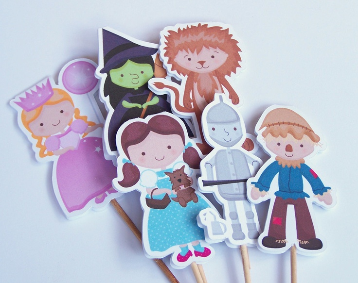 Wizard of Oz Party - Set of 24 Assorted Wizard of Oz Cupcake Toppers by The Birthday House. $12.00, via Etsy.