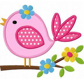 Instant Download Bird With Flower Applique Machine Embroidery Design NO:1291