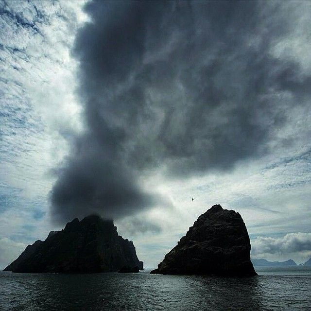 """Clouds trail away from Borerary in St. Kilda, off the western coast of Scotland. These remote islands are about the first land that Atlantic winds…"""