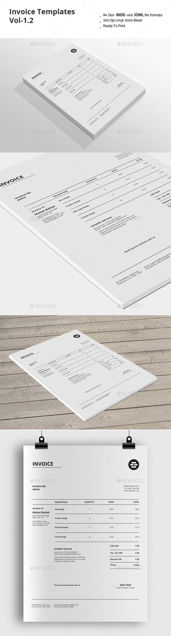 Invoice Templates Template | #invoice #invoicetemplate #invoicedesign | Download: http://graphicriver.net/item/invoice-templates-vol12/9212779?ref=ksioks