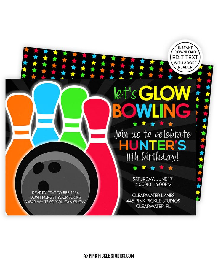7 best Kids Birthday Invitations images on Pinterest Birthday - bowling invitation