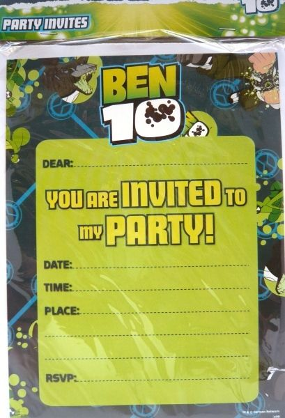 Ben 10 Party Invitations