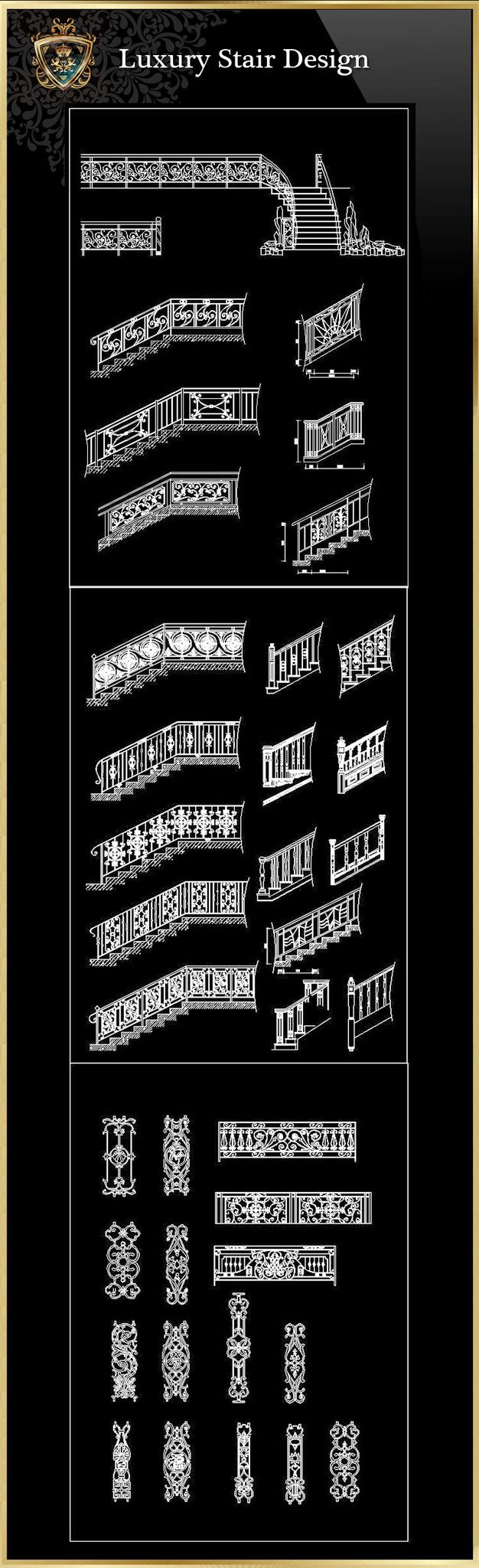 Royal Architecture Stair Design Drawings – CAD Design | Free CAD Blocks,Drawings,Details
