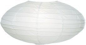 White 18 Inch Oval Paper Lantern by Luna Bazaar. $7.95. This white oval paper lantern is 18 inches in diameter and is made with the finest quality rice paper and bamboo freestyle ribbing. As with all our premium paper lanterns, they can be used with most ceiling fixtures and with most light cords for hanging lanterns. They can also be used with our LED battery lights as convenient, cord-free lighting and decoration for parties, weddings, patios, gardens, and outdoor celeb...