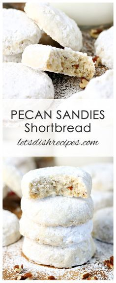 Pecan Sandies Shortbread Cookies Recipe | Delightful pecan shortbread cookies coated in powdered sugar. A holiday cookie classic!