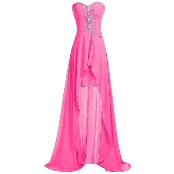 Sunvary Strapless Homecoming Dress Hi-Lo Sweetheart Pleated Chiffon... (£78) ❤ liked on Polyvore featuring dresses, gowns, strapless gown, pink strapless dress, chiffon dress, pleated chiffon dress and high-low dresses